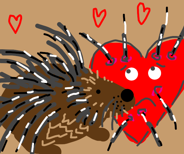 porcupine with a heart beside it