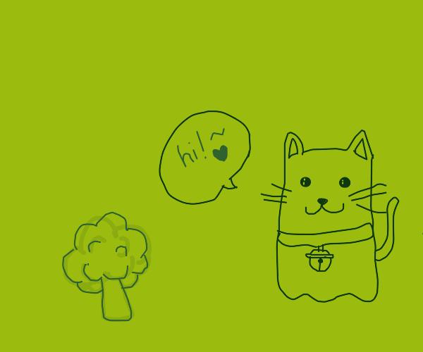 Cute ghost kitty saying hi to broccoli