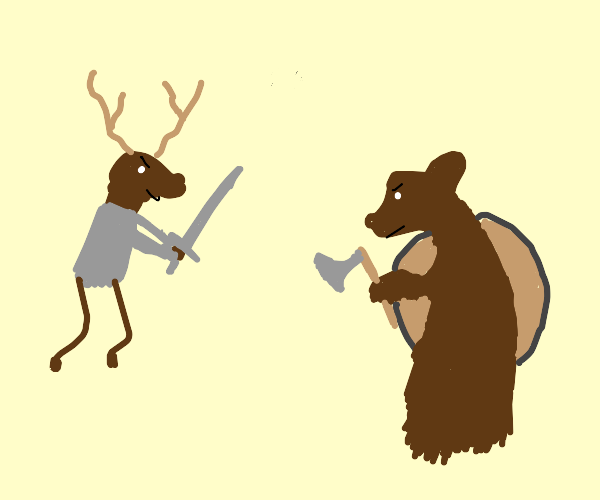 deer in an epic battle with bear
