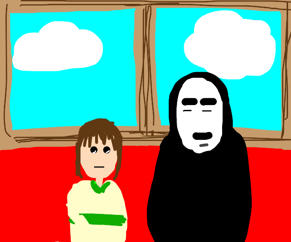 Chihiro sitting next to No-Face