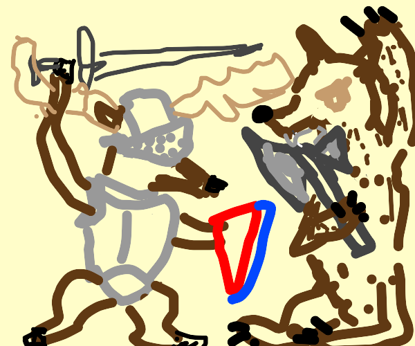 Knight armor deer fights axe-wielding bear