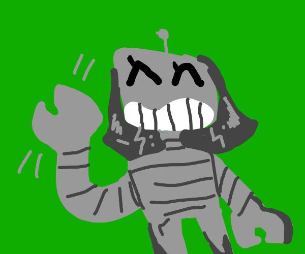 A lady robot waving