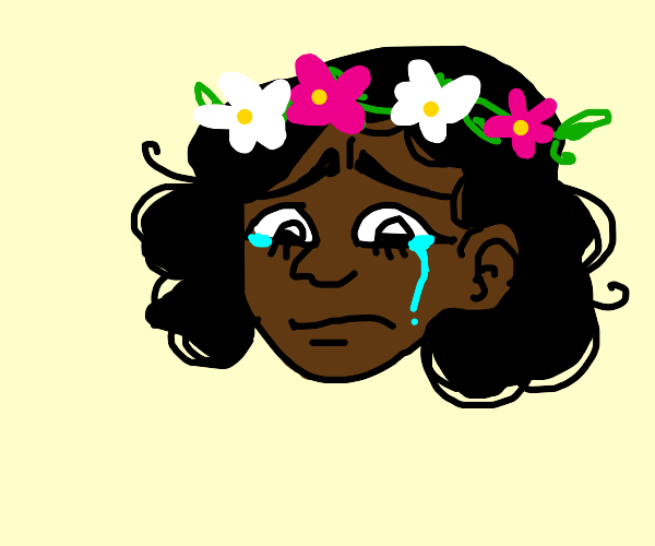 Crying girl with leaf headband and flowers