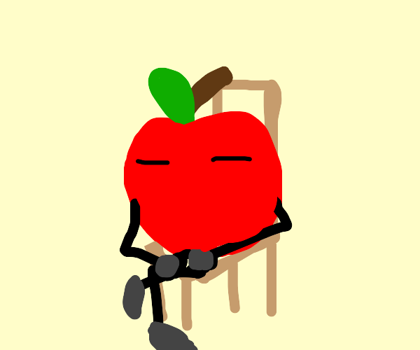 a apple sitting in a chair