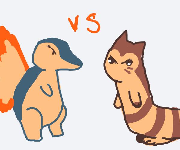 Pokemon battle; cyndaquil vs furret