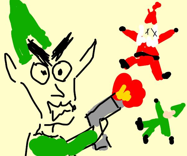 angry elf shoots up Santa's workshop