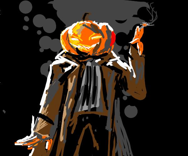 smoking pumpkin head man