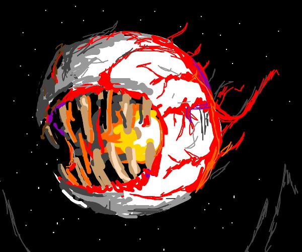 a demon with a giant eyeball for a head