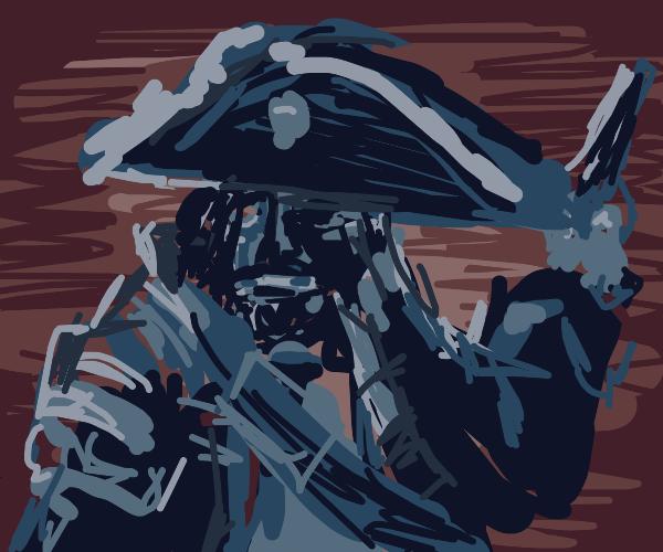 Cyborg pirate wielding Flintlock pistols