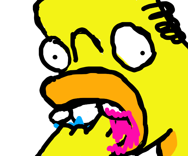 Homer eating His fingers off his hands