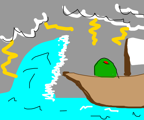 An olive sailing in the middle of a storm