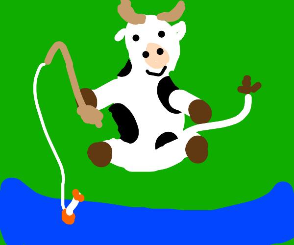 Melisa cow goes fishing
