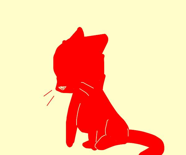 Sad red kitten