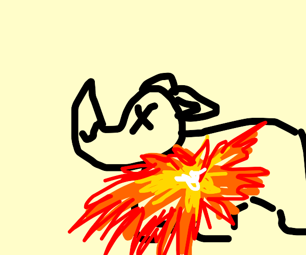 This rhino just exploded