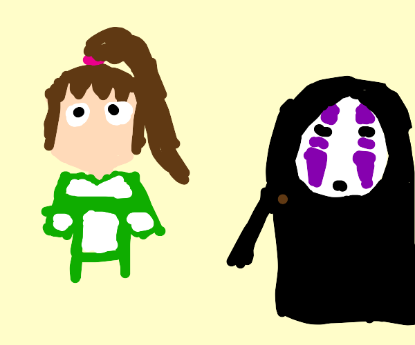 chihiro and no-face from spirited away