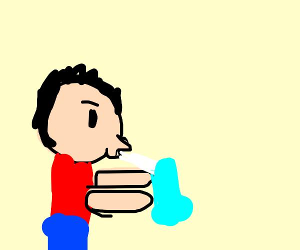 Boy drinks milkshake