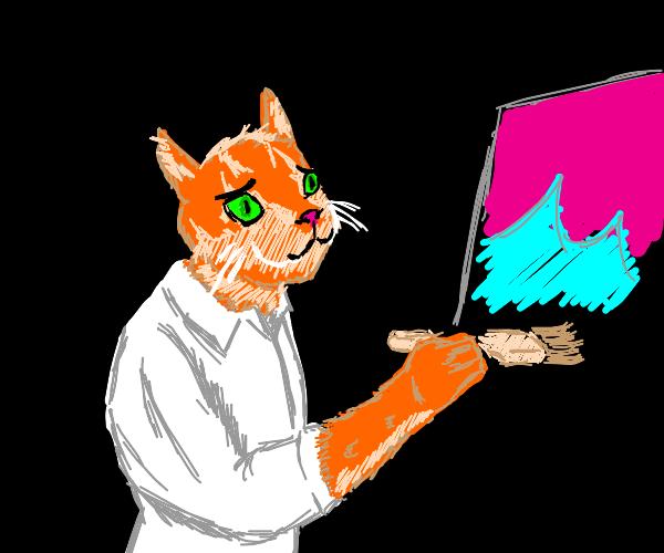 Orange cat painting