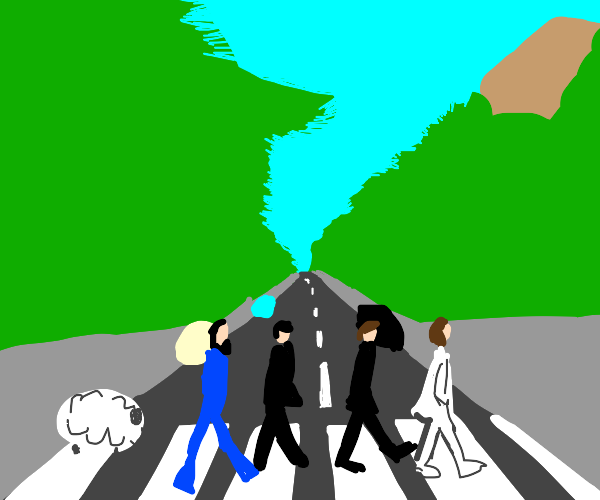 Abbey Road but a sheep sneaks up on them