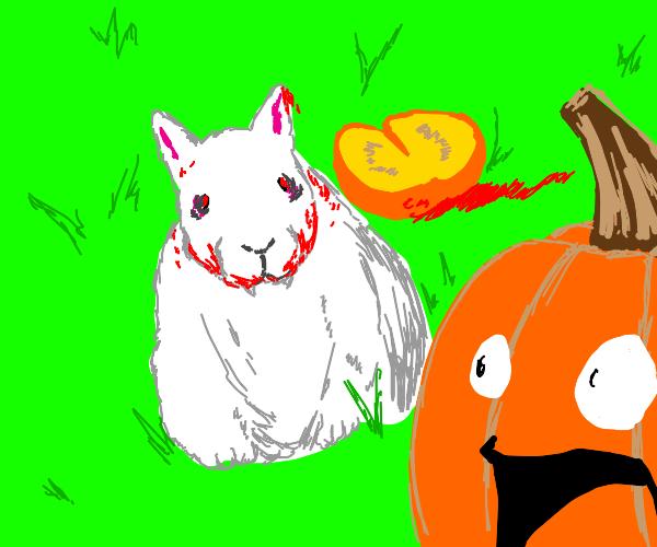 Monty Python's killer bunny goes for pumpkins