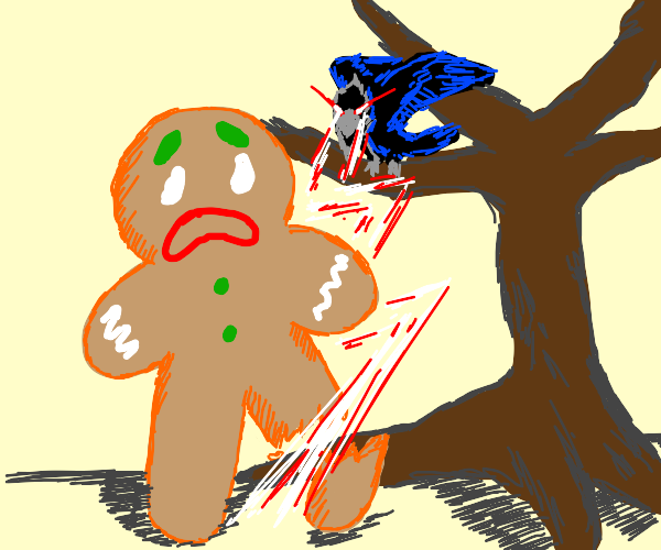 crow uses laser vision on gingerbread man