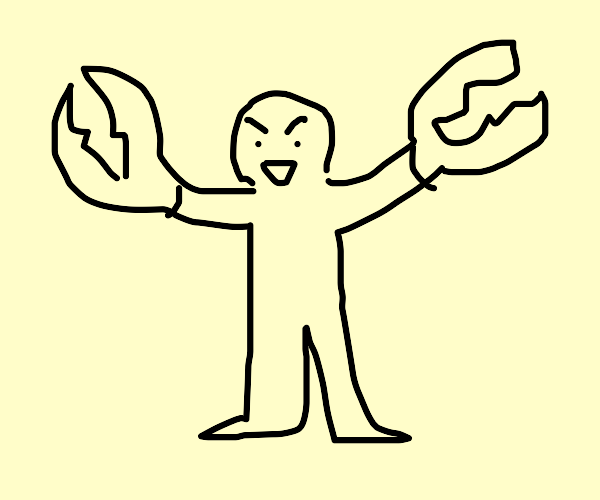 A naked man with crab claws