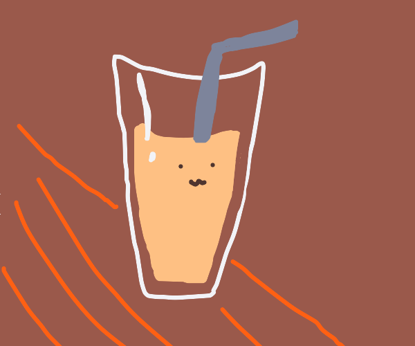 happy glass of peach milk