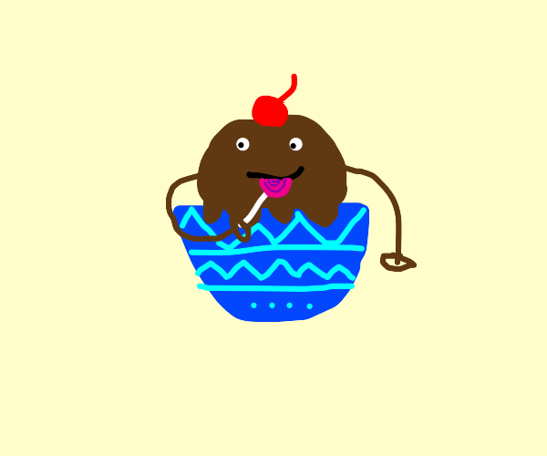 Scoop of Ice Cream enjoying a lollipop