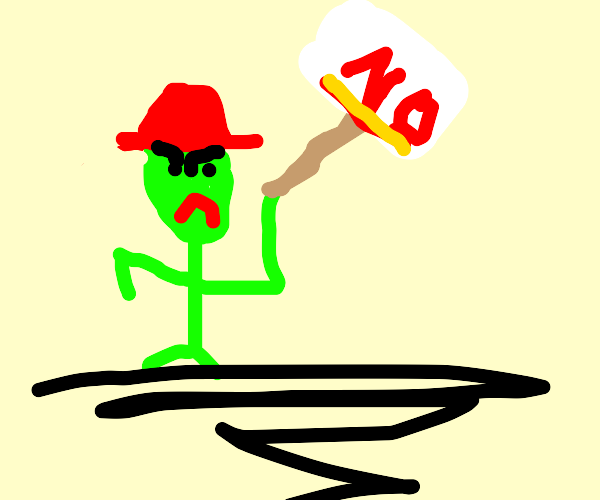 Green stickman with red hat protesting