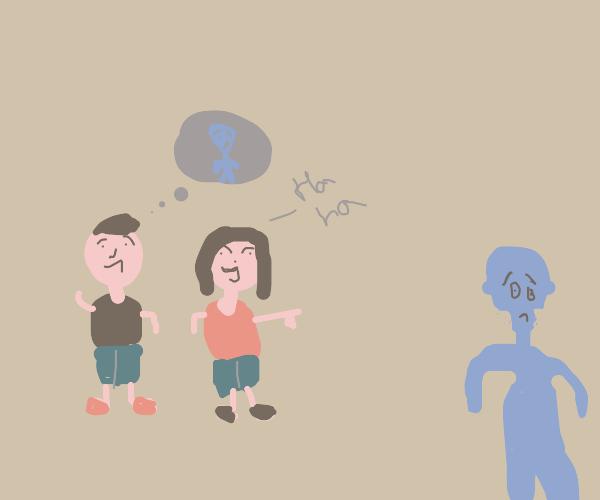 Kids gossip about blue alien