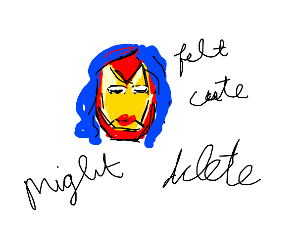 Iron man with a wig over his helmet