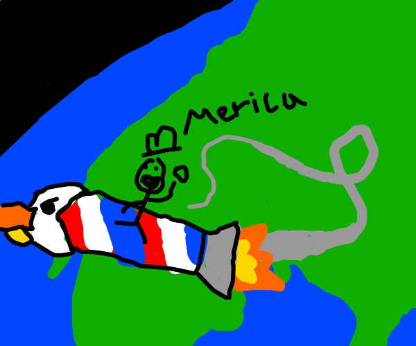 American rocketing out of earth