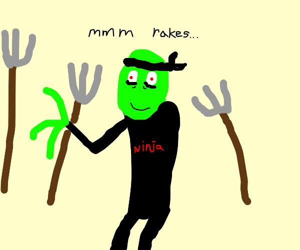 Salad Ninja Fingers steals rakes