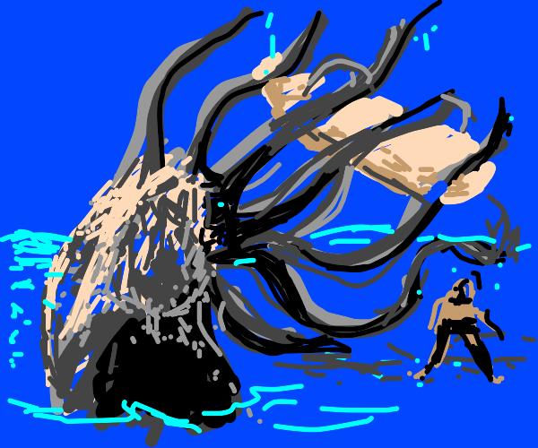 Kraken destroys surfer