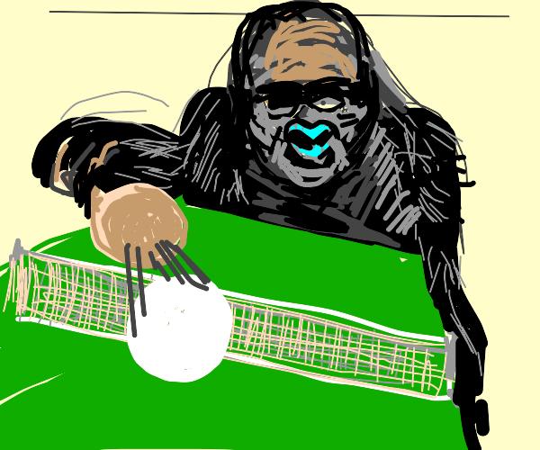 Gorilla playing table tennis