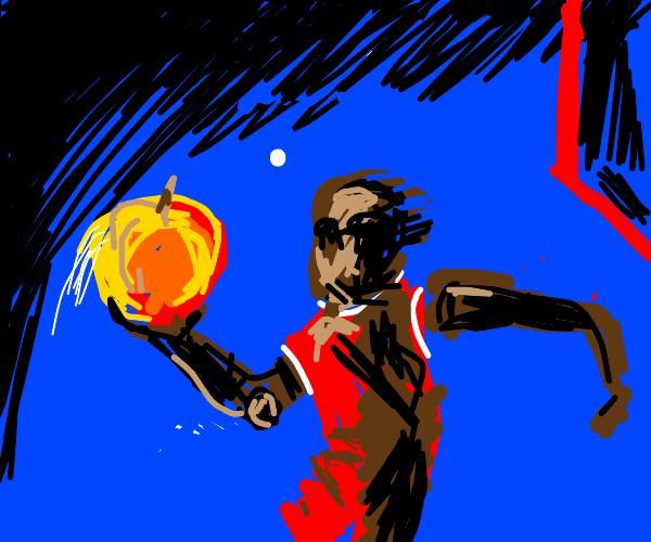 B-ball player w/t prosthetic arm throws peach