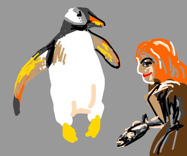 Ginger girl is Penguin's best friend