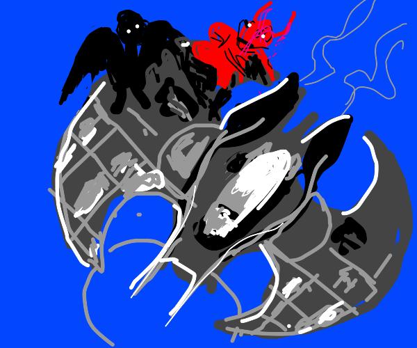 A bat and a devil ride Batman's plane