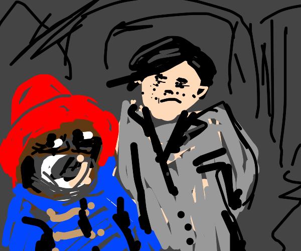 Paddington goes with bag-kid