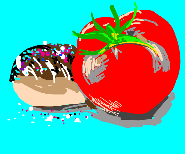 A tomato, and a doughnut - with sprinkles
