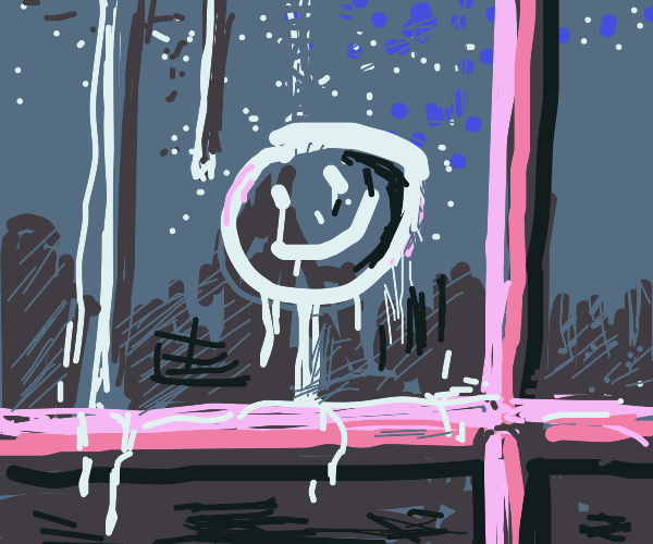 Drawing with finger on a foggy window