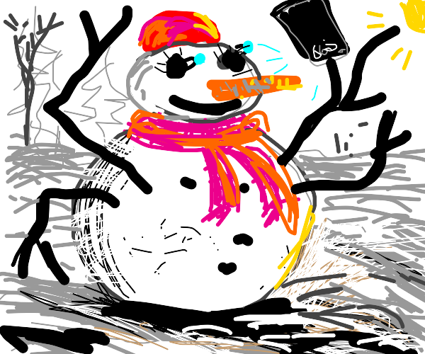 Four-armed snowwoman taking a selfie
