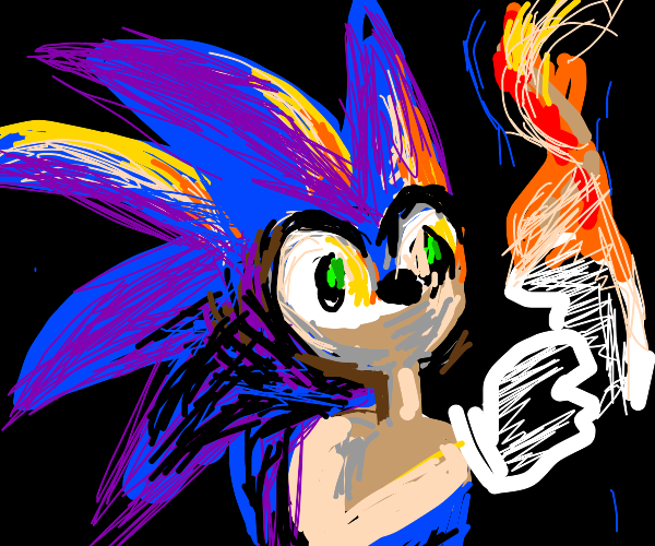 Sonic Burning his Gloves