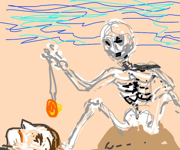Skeleton man on beach hypnotizing a stranger