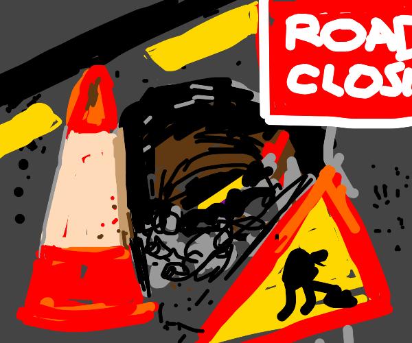 digging up a road