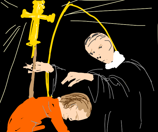 priest gives blessing to devout follower