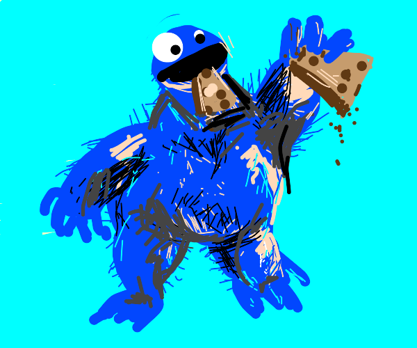 Obese Cookie monster eats a cookie cake