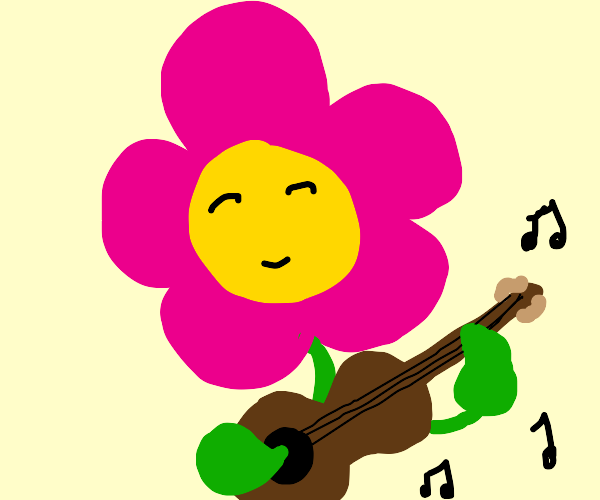 Flower man with guitar