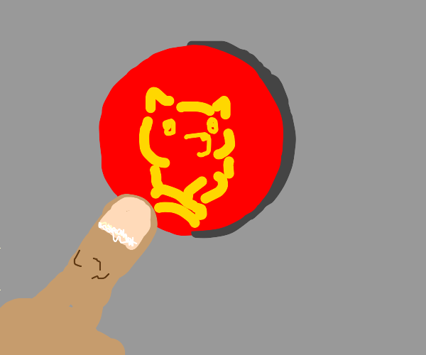 Pressing the red button with a dog icon.