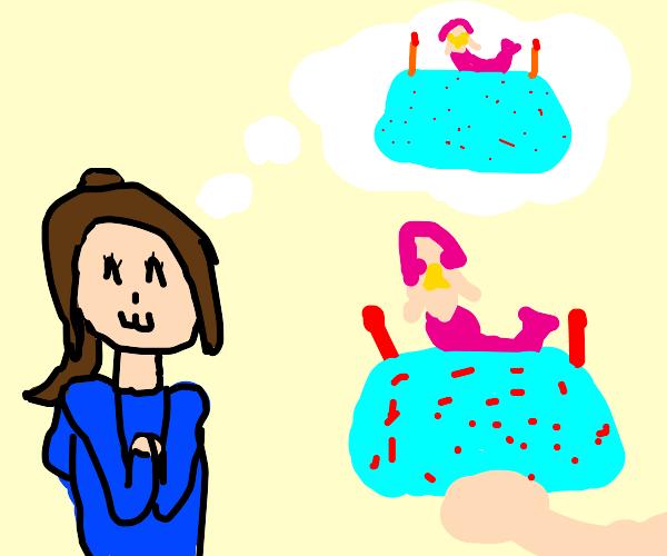 girls dreams come true, gets a mermaid cake