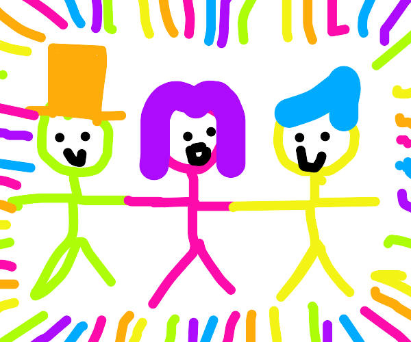 Colorful people hold hands